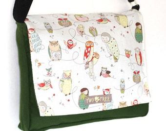 Green Hoot Wise OWL MESSENGER Book Laptop Diaper BAG