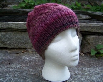 Handknit Mohair and Wool Cloche Hat Cabled Leaf Pattern in Dark Vineyard and Plum Multi Wool