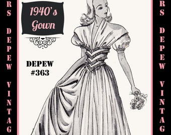Vintage Sewing Pattern 1940's Evening or Wedding Gown in Any Size Depew 363 - PLUS Size Included -INSTANT DOWNLOAD-