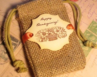 Burlap favor bags - Thanksgiving favor bags