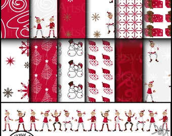 Cheery Red Christmas set 4 INSTANT DOWNLOAD 12 digital scrapbooking papers damask snowflakes tree gifts elves stockings snowmen