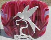 Glass Plate and Brushed Metal Vine Stand: Tickled Pink Hummingbird