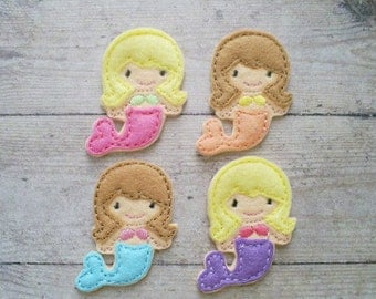Mermaid Felt Appliques, Mermaid Appliques, Felt Embroidered Mermaid Appliques, Beach Appliques, At The Beach Felties, Felties For Clips