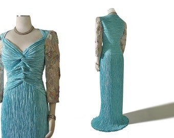Vintage Mary McFadden Couture Dress Evening Gown -- Fortuny Pleated Dress