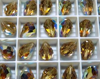 Vintage Swarovski Golden Light Colorado Topaz AB Crystal Teardrop Beads  10x7mm