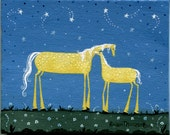 Folk Art Painting whimsical Mare & Foal  small miniature original artwork acrylic on canvas charming golden dappled ponies horse landscape