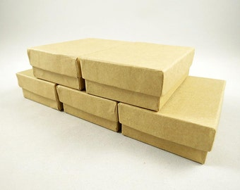 25 Kraft Gift Boxes - Jewelry Boxes - Gift Boxes - Kraft Box - Wedding Favors - Cotton Filled - 3 1/16 x 2 1/8 x 1