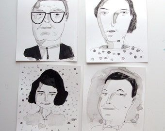 Black and white portraits, drawings on paper