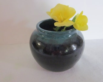 SMALL VASE Black and Teal Stoneware Pottery