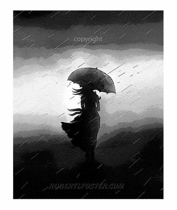 romantic art, umbrella, storm clouds, print, painting, woman rain, storm, girl umbrella, lightning thunder, windy rain, teenager, wind blown