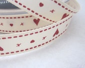 Red and Ivory Love Hearts and Kisses Ribbon
