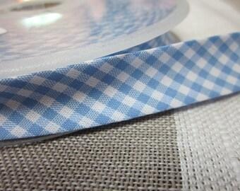 5m Pale Blue and White Gingham Print Bias Binding