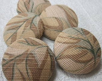 5 Handmade Brown Leaf Buttons