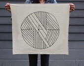 Geometric Circle Tea Towel - Screen Printed Organic Cotton Flour Sack Towel - Soft and Absorbent Dish Towel