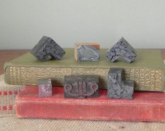 Six 6 vintage printers print blocks stamps - three ivy corners a candelabra a flower and a bird