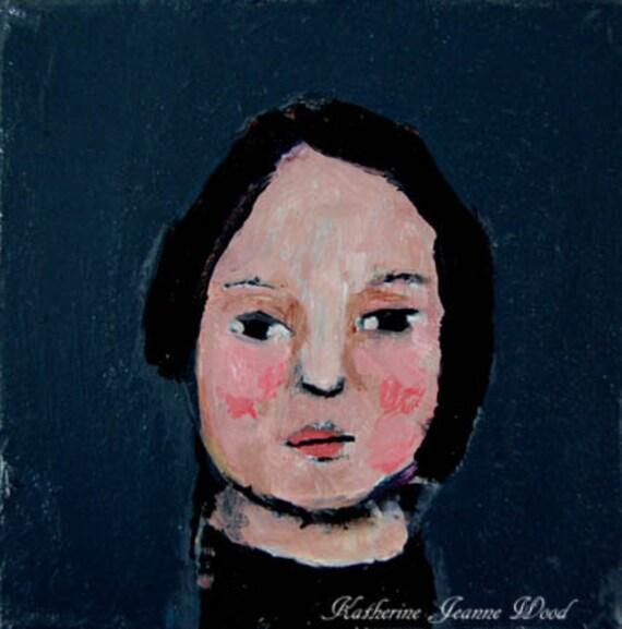 Acrylic Portrait Painting, 4x4, Mini Painting, Suzy, Original, Little Girl, Dark Gray