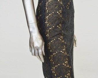 ON SALE Grey Organic Embroidered Lace Pencil Skirt