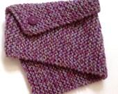 Knit Neck Warmer - purple green mix