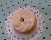 Bagel  and Cream Cheese Shmear polymer clay Christmas Ornament Holiday gift tag