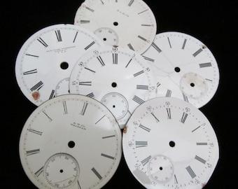 Steampunk Watch Dials Vintage Antique Faces Parts Enamel Porcelain Metal Mixed Media   GB 8
