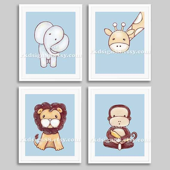 Nursery art - baby boy nursery decor - safari nursery art - baby animal art - children decor - baby shower gift - SET, 4 prints