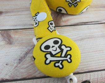 Pirate Lanyard Fabric Lanyard with Retractable Badge Reel - ID Badge Holder - Yellow Pirate