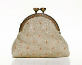 Linen embroidered coin purse - Linen and orange