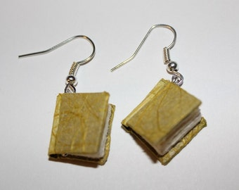 Yellow Miniature Bound Book Earrings
