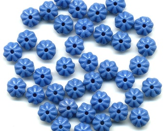 Vintage Flower Beads 6mm Lapis Blue Rondelle Spacers 48 Pcs.