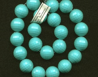 Vintage Blue Plastic Beads 14mm Faceted Turquoise - W. Germany