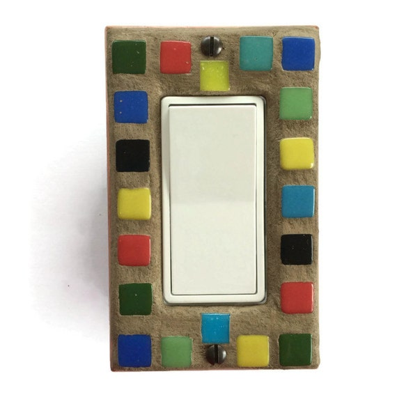 Mosaic Light Switch Plate - Multi Color - Single Switch Plate 7141