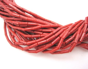 Vintage Red Coral Beaded Necklace - Multi Strand