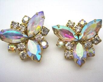Vintage Rhinestone Clip Earrings - AB Rhinestone