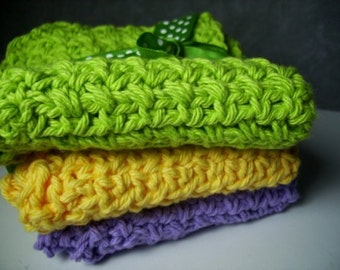 Home,Living,Bathroom,Kitchen,Crochet Cloths ,Cleaning Supplies,Face Cloth,Cotton,Green,Purple,Yellow,wash cloth