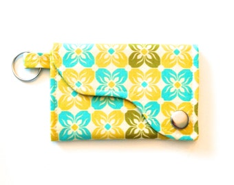 Keychain Wallet made w/ Designer fabric Square petals