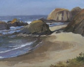 "Sale! Oregon coast beach oil painting ""Seal Rock"" original art by Sarah Sedwick 12x16"