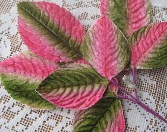 Vintage Millinery Leaves 1950s Japan Velvet Pink And Green Leaves VL 065 GPM