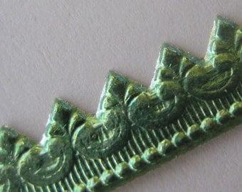 Germany Aqua Embossed Fancy Baroque Foil Paper Lace Dresden Trim  DFW 221  SF