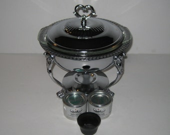 Silver Food Warmer Buffet Warmer With Fire King Casserole Insert