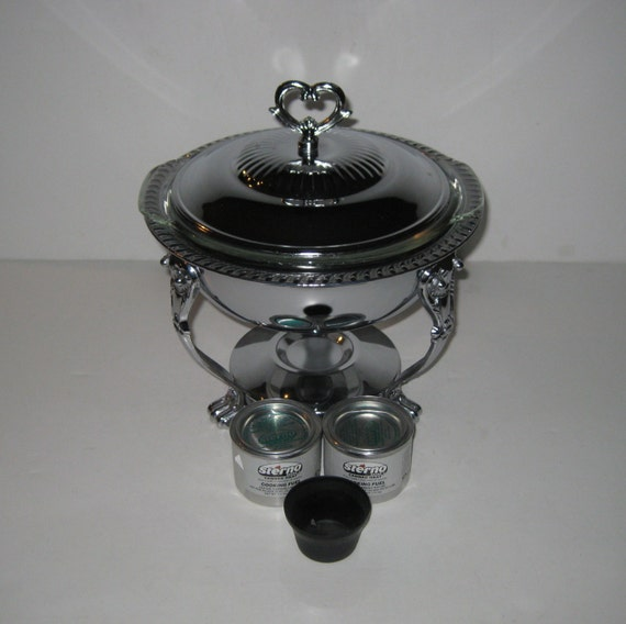 Cooking Warmers Vintage Fireplace ~ Silver food warmer buffet with fire king casserole