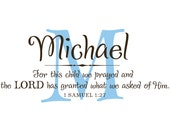For this child we prayed... Personalized Name with initial and scripture vinyl wall decal, vinyl lettering , nursery decor
