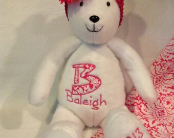 Handcrafted Personalized Custom Teddy Bear. customized embroidery,embroidered,personalized,teddy bear