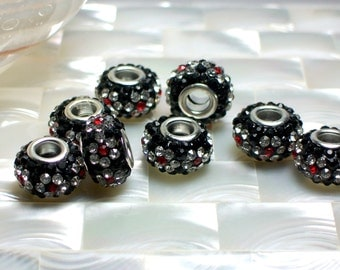 1pc Big Hole Rhinestone Spacer Pave Bead Rondelle Floral Red Black Clear European style Bracelets earrings Jewelry Jewellery Craft Supplies