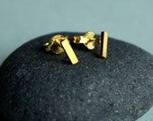 Tiny Dainty Simple Geometric Rectangle Stud Earrings Gold Plated Sterling Under 25