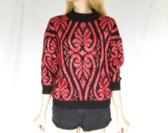 Vintage 80s Hipster Sweater. Red and Black Metallic Sweater