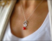 Heart Necklace, Gold Heart Necklace, Silver Heart Necklace, Open Heart Necklace with Ruby Red Chalcedony Drop