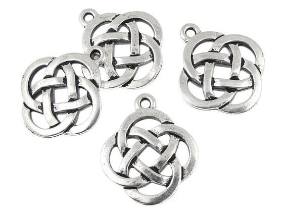 Celtic Circle Pendants - Antique Silver Celtic Charms - Open Knotwork Knot Work Pendants TierraCast  (P409)