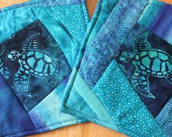 Turtle Batik Blue Potholder Set of 2