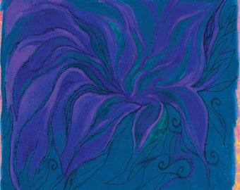Flower Spirit Bloom Blue Turquoise Frond Designs Fabric Panel