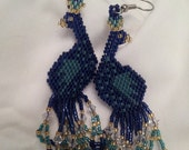 Stunning Peacock Beaded Dangle Earrings